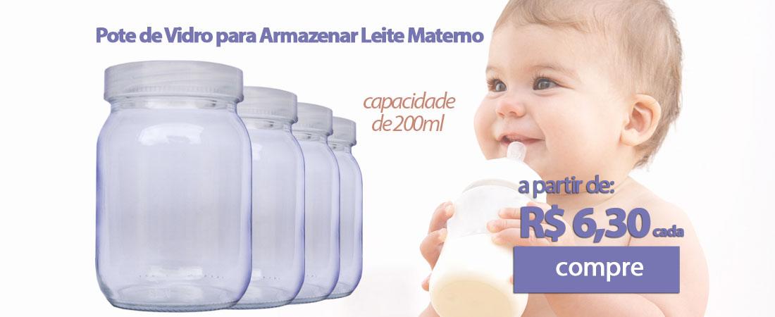 Pote de Vidro para leite materno