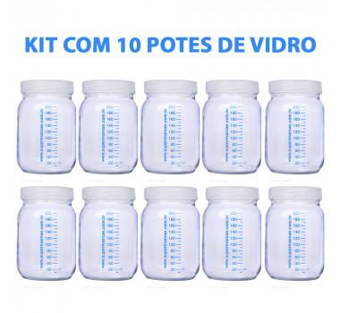 Kit com 10 Potes de Vidro para Armazenar Leite Materno 200ml Com Graduação